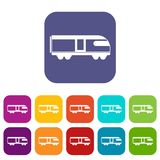 Swiss mountain train icons set Royalty Free Stock Photography