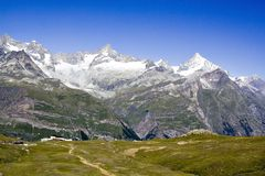 Swiss mountains. Panorama view of the Matterhorn - Zermatt, Switzerland Stock Image