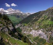 SWISS MOUNTAINS, ALPS,  RUCHEN, SWITZERLAND. Alpine sunny mountain valay in Switzerland Royalty Free Stock Photos