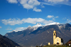 Swiss mountains and church Royalty Free Stock Photo