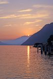 SWISS MOUNTAINS LAKE SUNSET, SWITZERLAND. A smouth sunset color of Lake of 4 Cantons Royalty Free Stock Photography