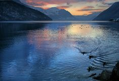 SWISS MOUNTAINS LAKE, SWITZERLAND. Mountain view of VIERWALDSTATTERSEE, Switzerland Royalty Free Stock Photography