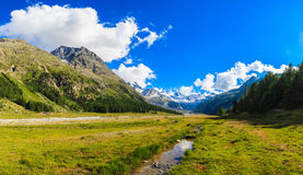 Swiss Mountains. Swiss mountain landscape of the Morteratsch Glacier Valley hiking trail in the Bernina Mountain Range of the Bundner Alps Royalty Free Stock Photography