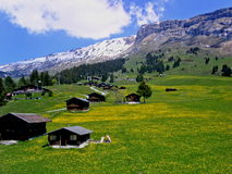Swiss Mountains in Springtime. Rocks and meadows with huts in the alps, eastern part of Switzerland stock photos