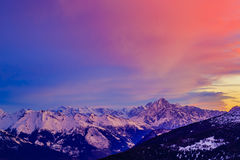 Swiss mountains at sunrise, Diableretes and Jungfrau - Swiss Alp Stock Photography