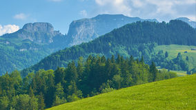 Swiss Mountains. View of several layers of hills and mountains in Switzerland Royalty Free Stock Photo