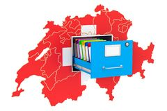 Swiss national database concept, 3D rendering. Isolated on white background Royalty Free Stock Image