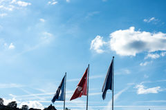 Swiss national and zurich canton flag with blue cloudy sky. In summer Royalty Free Stock Photos