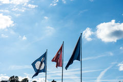 Swiss national and zurich canton flag with blue cloudy sky. In summer Stock Photo