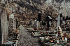 Swiss old graveyard in the alps. royalty free stock photo