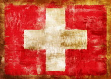 Swiss old painted flag Stock Photos