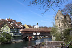 Swiss old town Baden: covered wooden bridge Royalty Free Stock Image