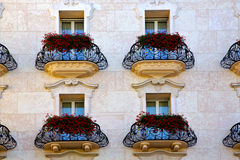 Swiss old wall and flowe    of city lugano Switzerland Royalty Free Stock Photo