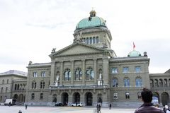 Swiss Parliament Building called Bundeshaus in Berne Stock Photography