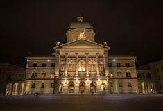 The Swiss Parliament in the night Royalty Free Stock Photography