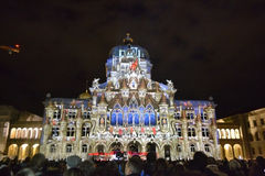 Swiss Parliment during light show in Bern Royalty Free Stock Photo