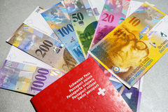 Swiss passport and money Royalty Free Stock Photos