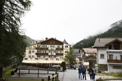 Swiss people and foreigner traveler travel rest and shopping duty free at shop in Samnaun. Village near Alps mountain on September 2, 2017 in Graubunden Royalty Free Stock Photos