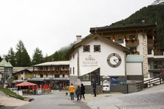 Swiss people and foreigner traveler travel rest and shopping duty free at shop in Samnaun. Village near Alps mountain on September 2, 2017 in Graubunden Stock Photo