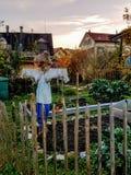 House garden with scarecrow in Wald Switzerland
