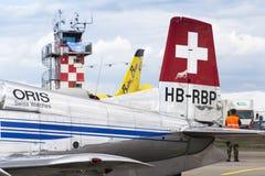 Swiss Pilatus Warbird aerobatic team P3 Flyers aeroplane Royalty Free Stock Image