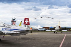 Swiss Pilatus Warbird aerobatic team P3 Flyers aeroplane Royalty Free Stock Photography