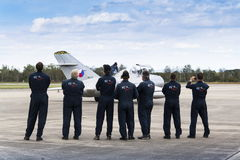Swiss Pilatus Warbird aerobatic team P3 Flyers with MiG-15 Stock Images