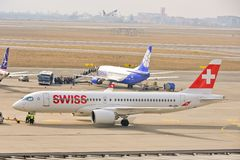 Swiss plane view Stock Photos
