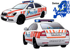 Swiss Police Car. Colored Illustration from Series Euro police, Vector Royalty Free Stock Images