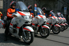Swiss police on motorcycles Stock Photos