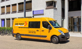 Swiss Post Van Royalty Free Stock Photography