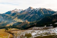 Swiss Prealps in the Canton of Fribourg, Switzerland. Beautiful landscape with Swiss Prealps in the Canton of Fribourg, Switzerland royalty free stock image