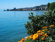 Swiss promenade in Montreux. Flowers and beauty view of Geneva Lake seen from promenade in Montreux in July, Switzerland Stock Photography