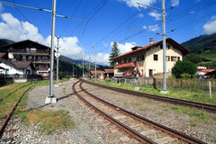 Swiss Railway in the Mountains Royalty Free Stock Photos