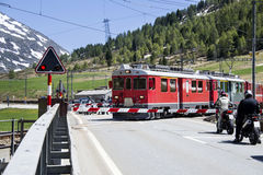 Swiss red train Stock Photography