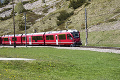 Swiss red train Stock Photos