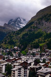 Swiss Resort Town of Zermatt and Matterhorn Mountain on a Cloudy Day stock images