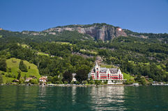 Swiss resorts. Resort hotel along the lake of the four cantons in Switzerland Royalty Free Stock Photography