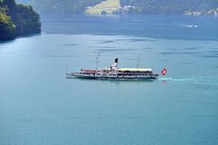 Swiss retro wheel steamer on lake Lucerne Royalty Free Stock Photo