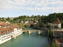 Swiss River Aare. The Aare or Aar is a tributary of the High Rhine and the longest river that both rises and ends entirely within Switzerland royalty free stock images