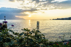 Swiss riviera. A beautiful landscape in Montreux, Switzerland along the water edge of Lake Geneva at sunset Stock Images