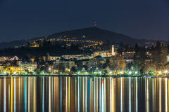 Swiss Riviera, Montreux. Night view of the Swiss Riviera in Montreux, Switzerland and lake Geneva Stock Photos