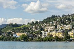 Swiss riviera near Montreux. Nice view over the Lake Leman & x28;Lake Geneva& x29; and the Swiss Alps, near Montreux, on the Swiss stock images