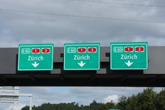 Swiss road signs Royalty Free Stock Images