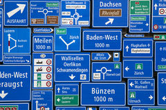 Swiss Road Signs. Photographed at the Swiss Museum of Transport at Lucerne in Switzerland stock photos