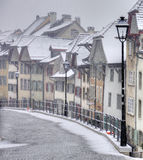 Swiss road with snow. Aarau road during a snowfall Stock Image