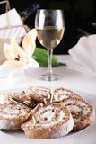 Swiss roll. Creamy roll cake with white wine, focus on the chocolate in the middle stock photos