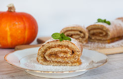 Swiss roll biscuit with pumpkin and apricot filing Stock Image
