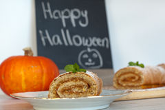 Swiss roll biscuit with pumpkin filing Royalty Free Stock Photos