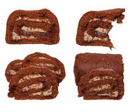 swiss roll with cappuccino cream Royalty Free Stock Photo